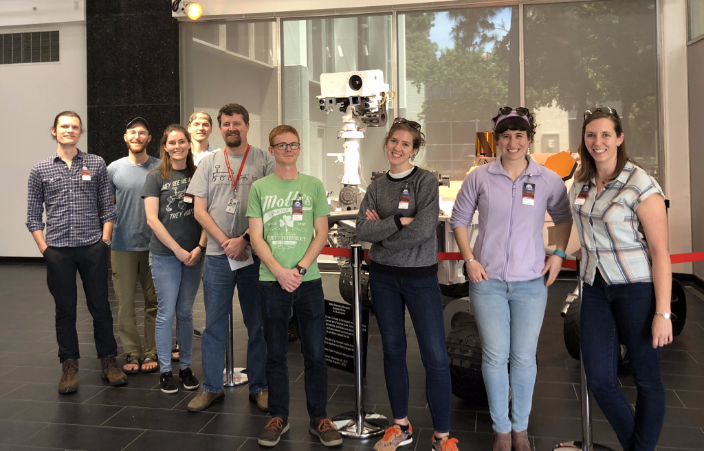 UTK students and professor stand in front of a replica of the Mars Science Laboratory rover at NASA JPL.